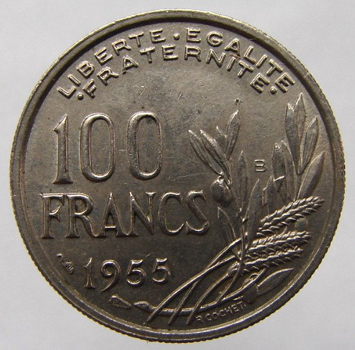 1955 FRANCE LIBERTY COIN Vintage over 55 Years Old French 100 Francs Copper Nick