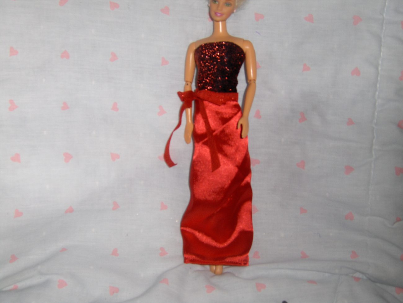 Red Satin and Glitter Gown fits Barbie and most Fashion Dolls