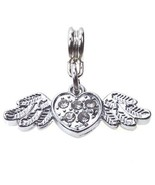 White Clear Heart with Wings Crystal Dangle Slider for European Charm Br... - $8.99