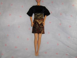 Black Velour Top with Paisley Corduroy Skirt and Gold Belt 3PC fits Barb... - $5.95