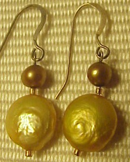 FW PEARLS  EARRINGS GOLD COINs+ BRONZE   PEARL STERLING EARWIRES HANDMADE