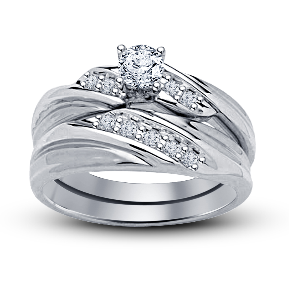 Round Cut Sim Diamond White Gold Finish 925 Silver Bridal Ring Set Free Shipping