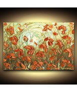 Large 24x36 Abstract Orange Poppy Flowers PRINT on Canvas Landscape Wall... - $242.55