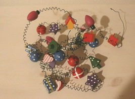 VINTAGE MINIATURE WOOD/WIRE CHRISTMAS GARLAND COUNTRY 5' - $11.83