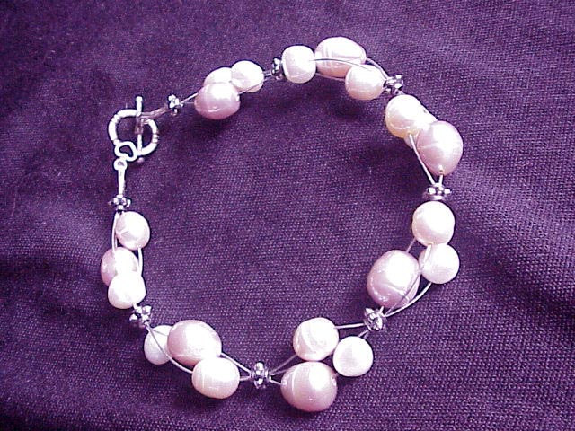 Pink  tricolor cluster FW pearls bracelet Bridal HAND MADE