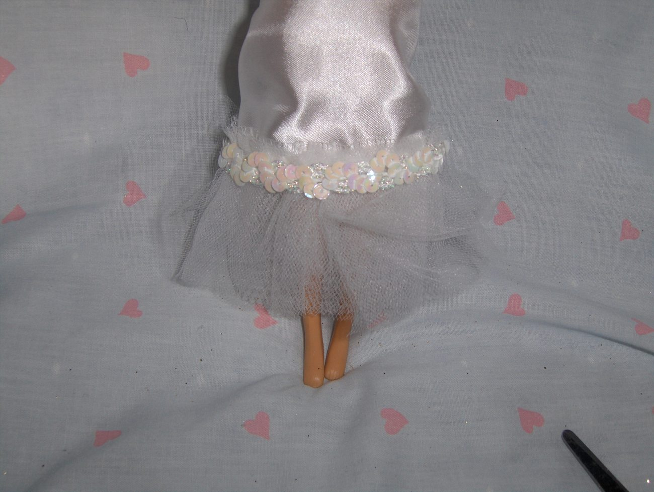 White Satin and Tulle Gown with Iridescent Sequin Trim fits Barbie and most Fash