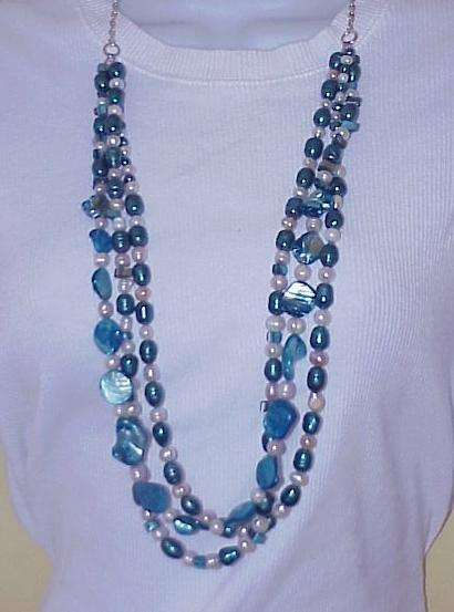 Blue WHITE  3 strand  FW +MOP  pearl necklace  SET big bold Handmade