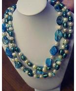 Blue WHITE  3 strand  FW +MOP  pearl necklace  SET big bold Handmade  - $28.00