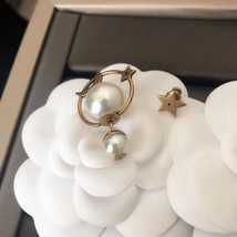 AUTH Christian Dior 2019 TRIBLES EARRINGS STAR PEARL GOLD image 3
