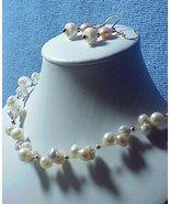PASTEL FW PEARLS  CLUSTER BRIDAL   necklace set... - $34.00