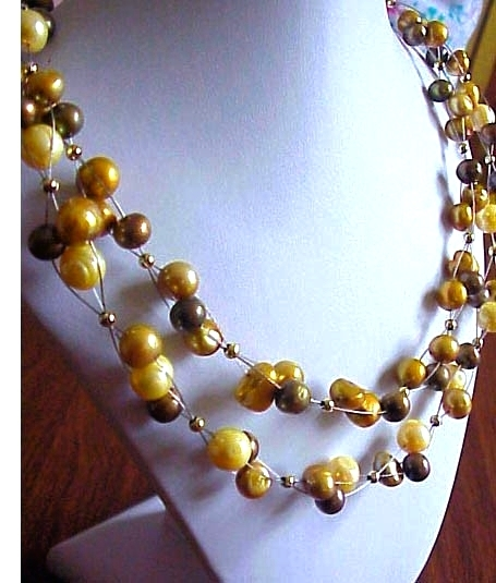 MULTI  Strand   FW PEarls cluster necklace Gold Olive  Green ARTISAN HANDCRAFTED