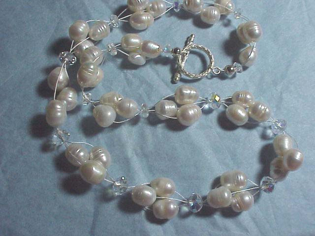 PEARL CLUSTER  WEDDING   NECKLACE+ FREE EARRINGS  HANDCRAFTED