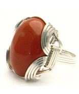 New Wire Wrap Red Jasper Silver Gemstone Ring - $64.00