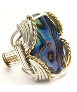 Wire Wrapped Abalone Silver / 14kt Gold Filled ... - $120.00