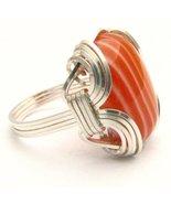 New Wire Wrap  Red/White Sardonyx Silver Gemsto... - $51.00
