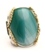 Wire Wrapped Green Sardonyx Sterling Silver/14k... - $150.00