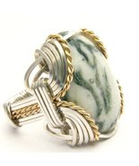 Wire Wrapped Green tree Agate Sterling Silver/1... - $150.00
