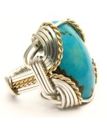 Wire Wrapped Turquoise Silver / 14kt Gold Fille... - $125.00