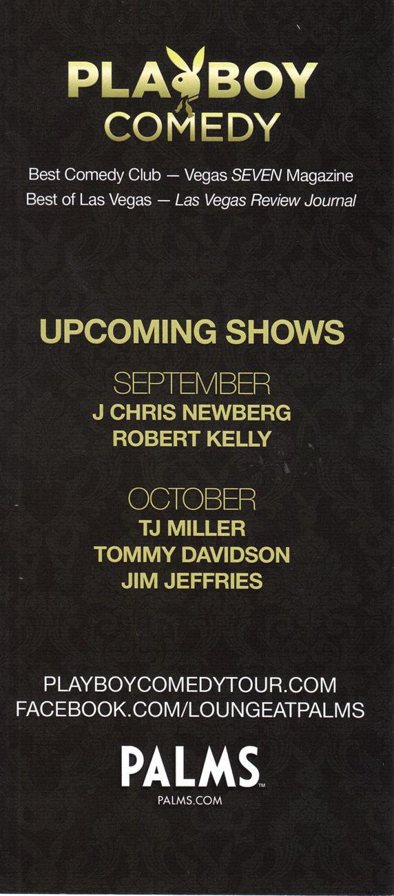 CHRIS PORTER / ARDEN MYRIN @ Playboy Comedy PALMS Vegas Promo Card