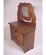 Vintage Wood Doll Dresser Clothes Chest Swivel Mirror Wooden Hand Made - $119.95