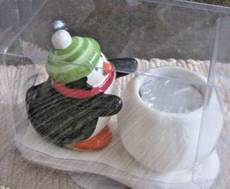 "Hallmark Candle Holder W/ Votive Candle Ceramic Penguin & Snowball 4"" X 6"" New - $12.86"