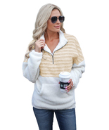 Apricot Fuzzy Striped Furry Sweatshirt  - $29.99