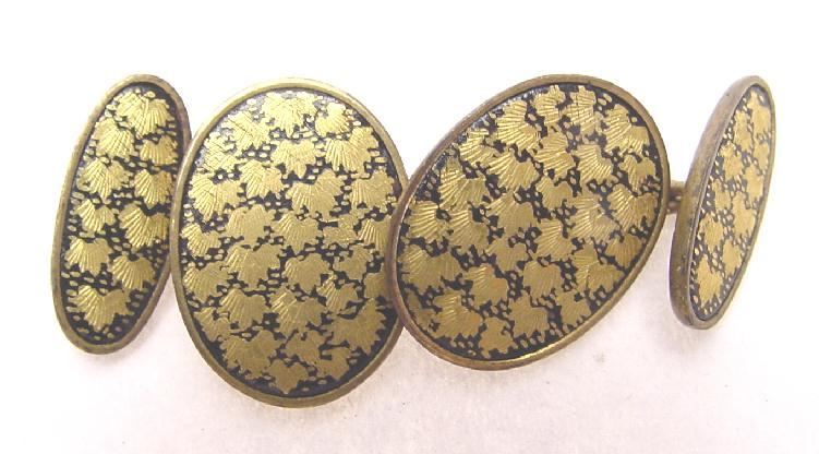 VINTAGE JAPANESE ENGRAVED LACQUER CUFF LINKS
