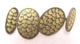 VINTAGE JAPANESE ENGRAVED LACQUER CUFF LINKS - $75.00