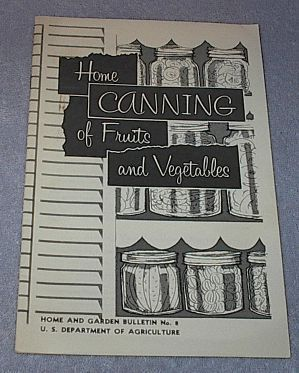 Primary image for Home Canning of Fruit and Vegetables 1969 USDA Bulletin No 8