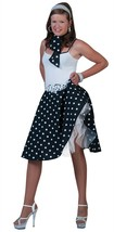 50s ROCK N ROLL BLACK SKIRT & SCARF,POLKA DOT ROCKABILLY FANCY DRESS COS... - £15.16 GBP