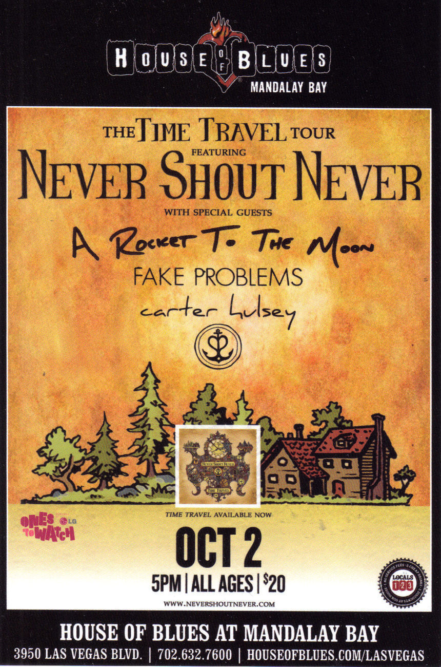 NEVER SHOUT NEVER @ House of Blues Mandalay Bay Vegas Promo Card