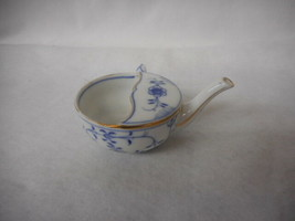 Vintage White with Blue Flowers Porcelain Invalid Cup - $75.69