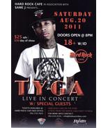 TYGA Live In Concert @ HARD ROCK CAFE Las Vegas Promo Card - $1.95