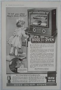 Primary image for 1919 Boss Glass Door Oven & Stove Vintage Ad, Huenefeld Co., Cincinnati, Ohio