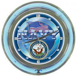 Neon Armed Services 14 in Wall Clock choice
