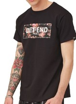NEW DEFEND PARIS MEN'S PREMIUM COTTON CREW NECK BLOCK T-SHIRT SHIRT BLACK FLORAL