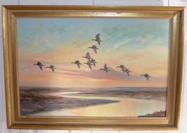BRITISH ARTIST WILFRED BAILEY FLYING BIRDS ORIGINAL VINTAGE FRAMED OIL P... - $299.00