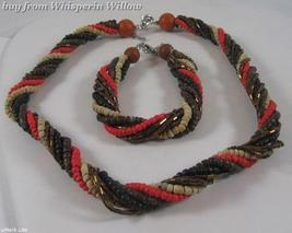 Multistrand Coco and Glass Bead Fashion Necklace and Bracelet Set - $29.95