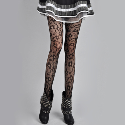 Fashion Flower Lace Pantyhose Leggings Stockings Black