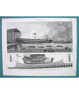 NAVY Dockyards Armor Frigate Launch  - 1870s Superb Print - $33.66