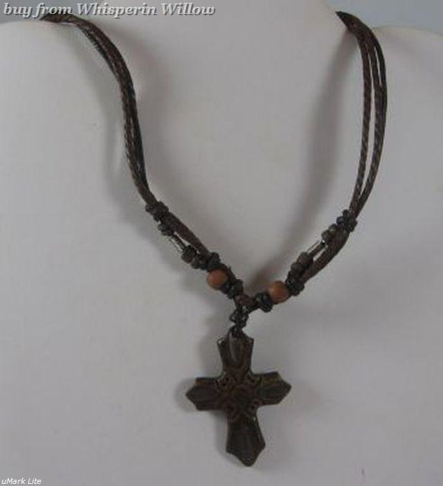 "14"" - 18"" Multistrand Cord Fashion Necklace with Carved Horn Cross"
