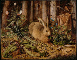 11x14 art print-Hans_Hoffmann-German-A Hare in the Forest-1585 - $17.49
