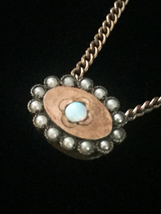 Antique 1900s gold-filled Opal and Seed Pearl oval slide charm necklace
