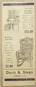 1918 Rattan Rocker & Kitchen Cabinet, Davis & Swan A