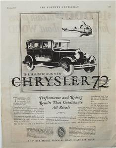 "1927 Fred Cole ""Agile"" Chrysler 72 Car Auto Ad"