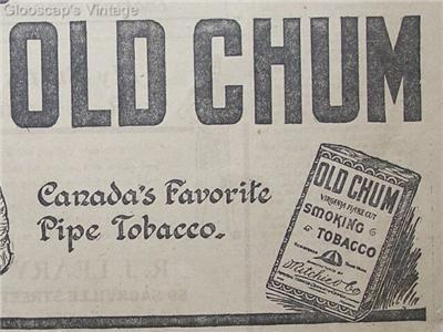 "1920 Old Chum Pipe Tobacco ""Gents"" Ad"