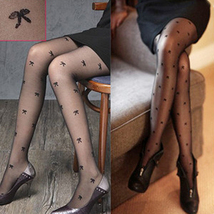 Sexy Tights Pantyhose Leggings Bowknot Pattern Black - $19.90