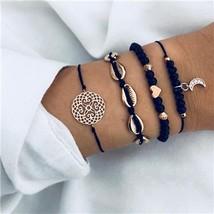 docona Bohemian Gold Color Moon Shell Heart Layered Bracelet Bangle Set ... - $8.28