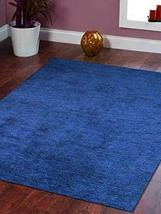 Rugsotic Carpets Hand Knotted Gabbeh Silk 8'x11' Area Rug Solid Dark Blu... - $367.00