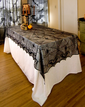 Halloween Tablecloth Table Cover Soft Lace Black Spider Web Rectangle 24... - $14.99